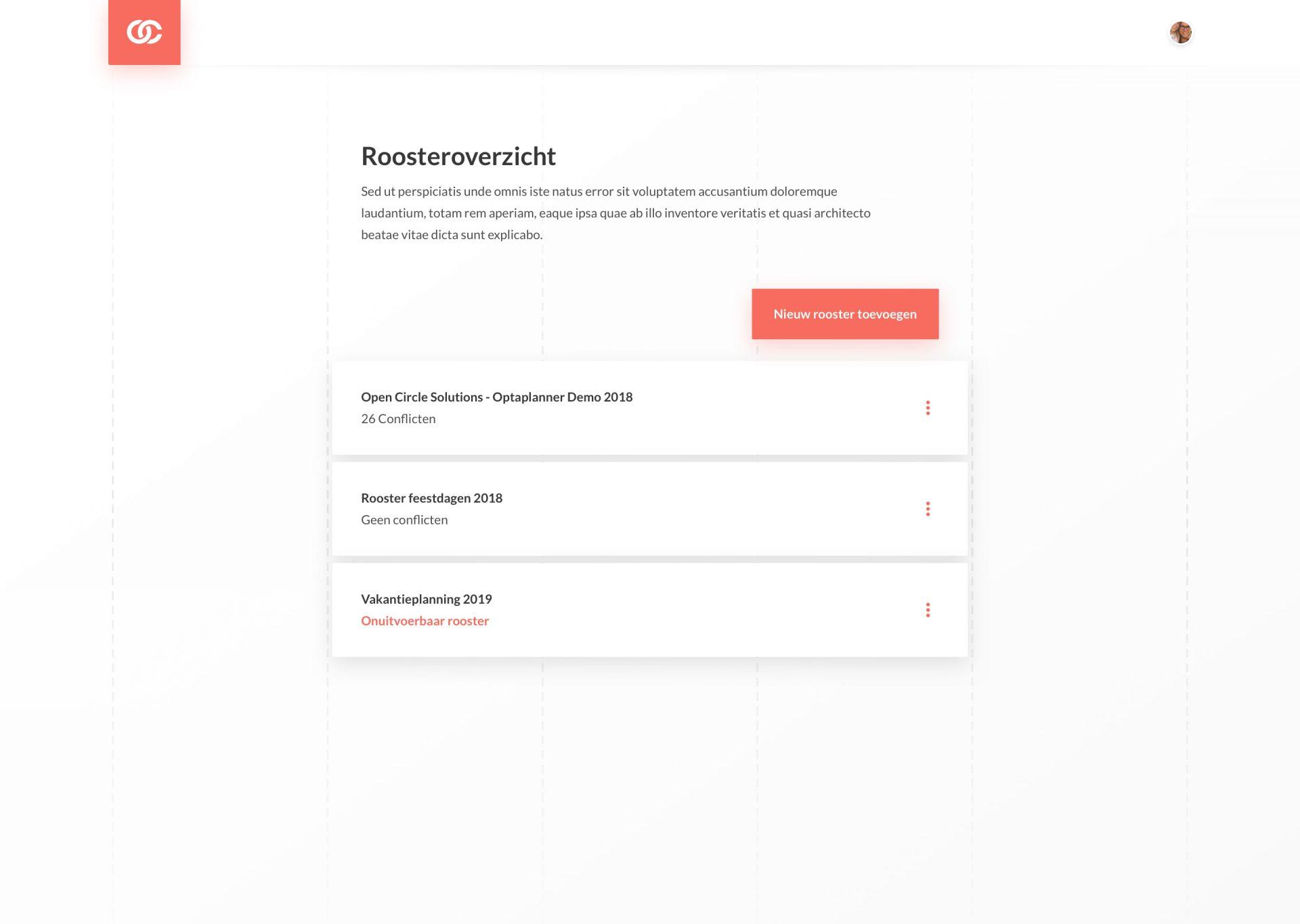 Optaplanner List UI