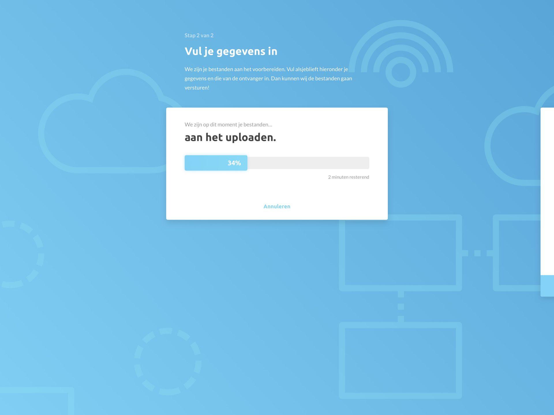 File Transfer UI - Vul je gegevens in