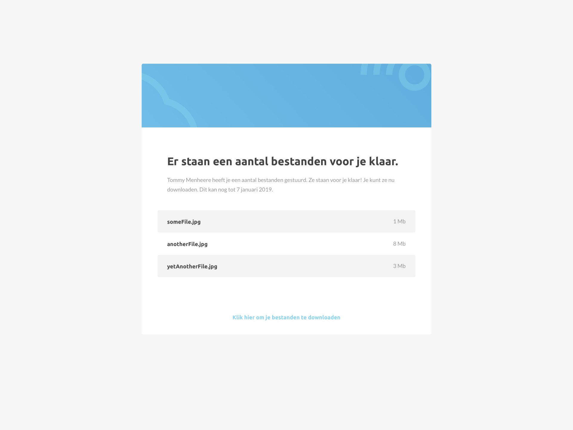 File Transfer UI - Er staan een aantal bestanden voor je klaar